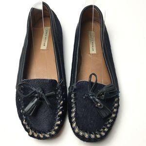 Zara women navy blue calf hair loafers sz 37/7